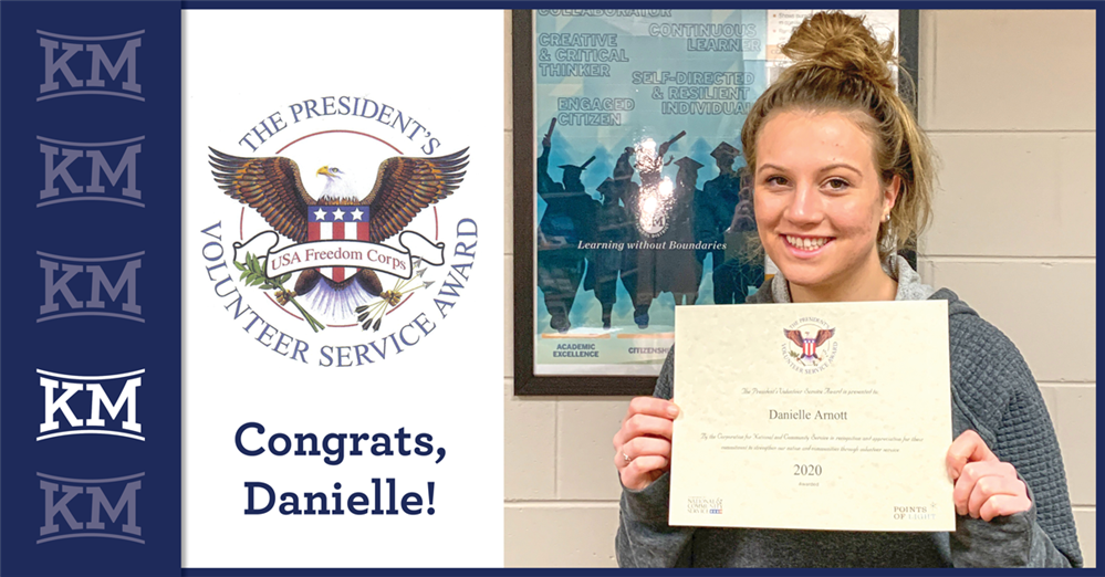 Congratulations to Danielle Arnott for receiving a President's Volunteer Service Award!