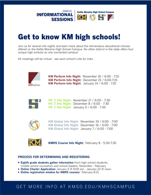 ATTEND AN INFORMATIONAL SESSION and Get to Know KM High Schools!