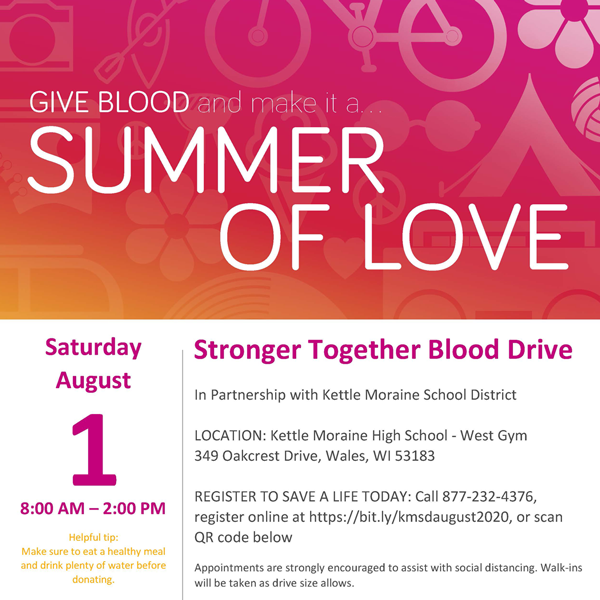 Sign Up For The Aug. 1 Blood Drive At KMHS