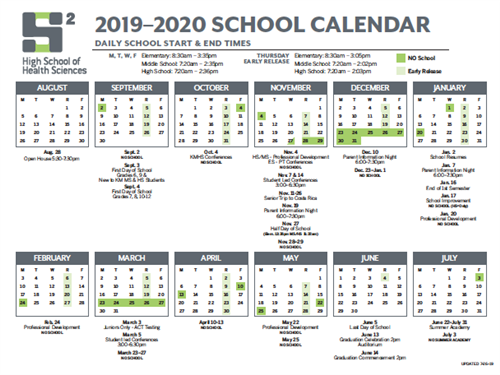 High School of Health Sciences Calendar