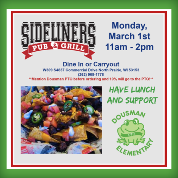 Sideliners Fundraiser To Support Dousman
